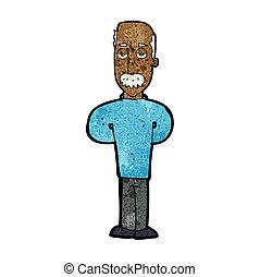 cartoon annoyed balding man
