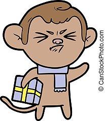 cartoon annoyed monkey