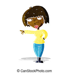 cartoon annoyed woman pointing