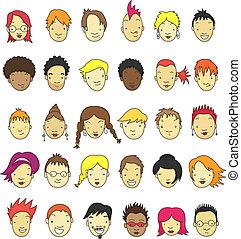 cartoon, ansigter