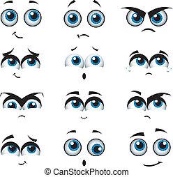 cartoon, ansigter, hos, adskillige, udtryk