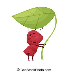 Cartoon Ant Character Holding Leaf Isolated on White Background Vector Illustration