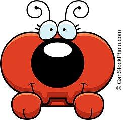 Cartoon Ant Peeking - A cartoon illustration of a little ant...