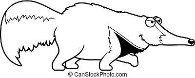 Cartoon Anteater Stalking - A cartoon illustration of an...