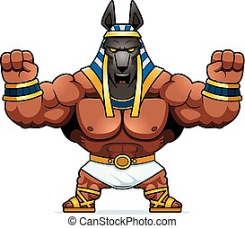 Cartoon Anubis Angry - A cartoon illustration of Anubis...