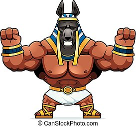 Cartoon Anubis Celebrating - A cartoon illustration of...