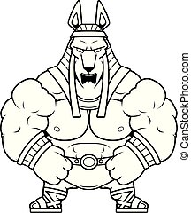 Cartoon Anubis Mad - A cartoon illustration of Anubis...