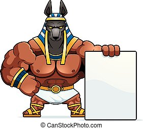 Cartoon Anubis Sign - A cartoon illustration of Anubis with...