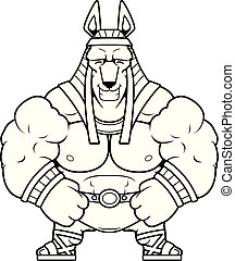 Cartoon Anubis Smiling - A cartoon illustration of Anubis...