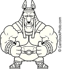 Cartoon Anubis Thumbs Up - A cartoon illustration of Anubis...