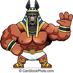 Cartoon Anubis Waving - A cartoon illustration of Anubis...