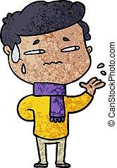 cartoon anxious man