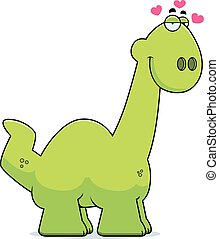 Cartoon Apatosaurus in Love - A cartoon illustration of a...