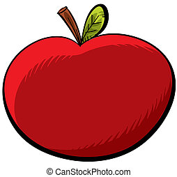 Cartoon Apple - A juicy, red cartoon apple.