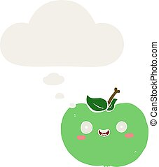 cartoon apple and thought bubble in retro style
