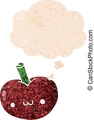cartoon apple and thought bubble in retro textured style
