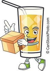 Cartoon apple cider with the character with bring box