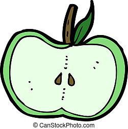 cartoon apple half