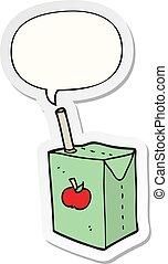 cartoon apple juice box and speech bubble sticker - cartoon ...