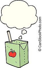 cartoon apple juice box and thought bubble