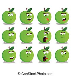 Cartoon Apple set with facial expressions