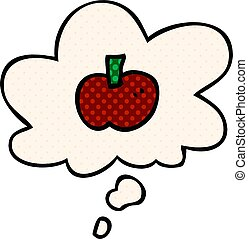 cartoon apple symbol and thought bubble in comic book style