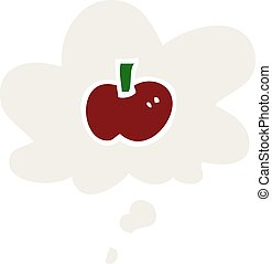 cartoon apple symbol and thought bubble in retro style