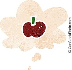 cartoon apple symbol and thought bubble in retro textured style