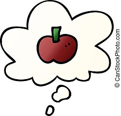 cartoon apple symbol and thought bubble in smooth gradient style
