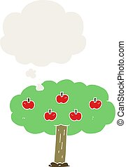 cartoon apple tree and thought bubble in retro style