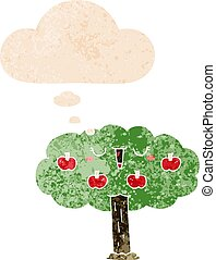 cartoon apple tree and thought bubble in retro textured style