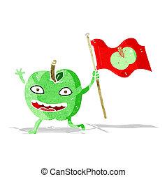 cartoon apple with flag