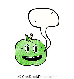 cartoon apple with speech bubble