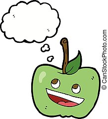 cartoon apple with thought bubble