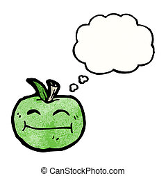 cartoon apple with thougth bubble