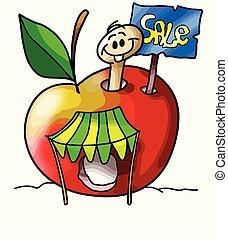 Cartoon apple worm makes a garage sale vector illustration