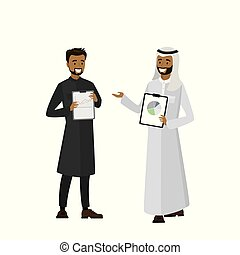 Cartoon Arab businessmen with tablets in hands