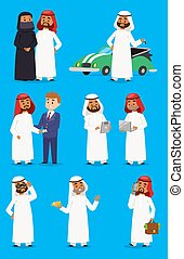 Cartoon arabic businessman vector characters in traditional religion clothes. National arabian costume dress arab prince man clothing. Arab prince man east country art and culture friendly sheikh