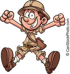 Cartoon archaeologist - Cartoon jungle explorer. Vector clip...