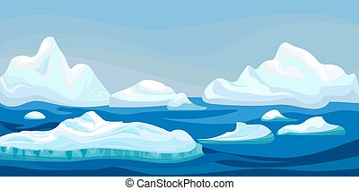 Cartoon arctic iceberg with blue sea, winter landscape. Scene game concept Arctic Ocean and snow mountains. Vector nature background illustration.