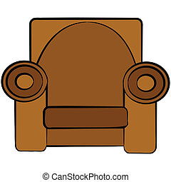 Cartoon armchair - Cartoon illustration of a brown leather...