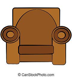 Cartoon armchair - Cartoon illustration of a brown leather...