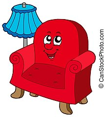Cartoon armchair with lamp - isolated illustration.