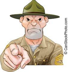 Cartoon army drill sergeant pointing