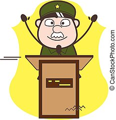 Cartoon Army Man Announcing in Meeting Vector Illustration