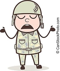 Cartoon Army Man Behaving Like Don't Know Anything Vector ...
