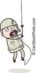 Cartoon Army Man Climbing Rope in Training Vector Illustration
