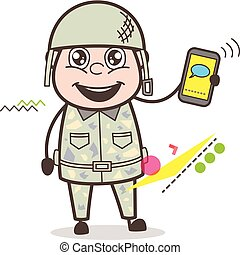 Cartoon Army Man Showing Message in Phone Vector Illustration