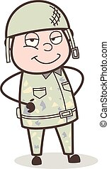Cartoon Army Man Smiling Face Expression Vector Illustration