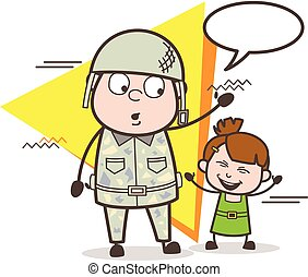 Cartoon Army Man with Cute Happy Little Girl Vector Illustration